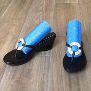 Black Rhinestone Slip on Wedge Sandals